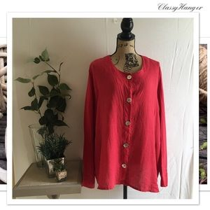 FLAX | Red Linen Tunic Top Size 1G